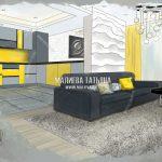 Визуализация эскиз гостиной в Эталон Сити