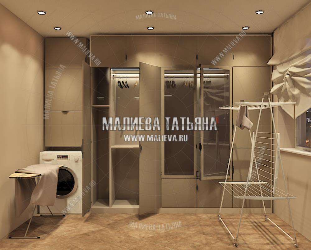 Гардеробная для большой семьи в дизайн проекте Малиевой Татьяны Люберцы 2019