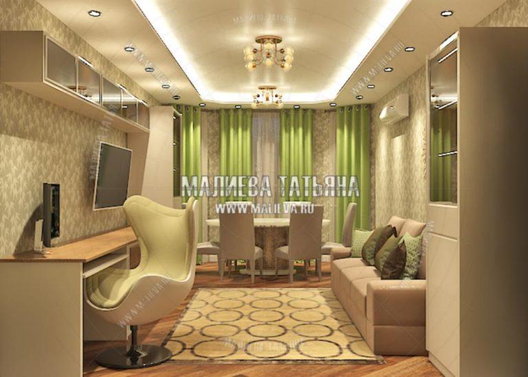 Гостиная в современном стиле в дизайн проекте Малиевой Татьяны 130 кв. м. Люберцы 2019