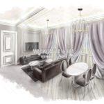 Гостиная в стиле современной классики Старая Купавна от дизайнера Малиевой Татьяны 2019