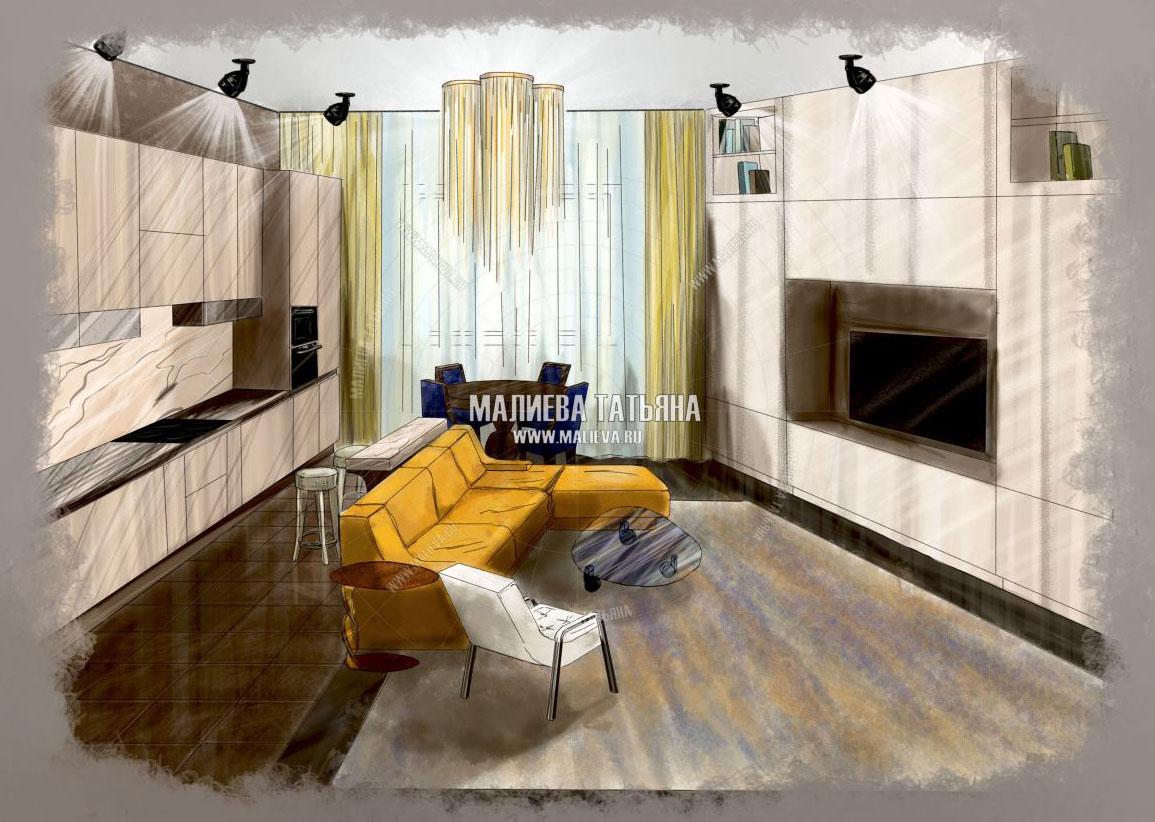 Эскиз гостиной совмещенной с кухней в ЖК Эталон Сити Малиева Татьяна