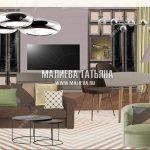 Коллаж гостиной квартиры в Лобне вариант 1