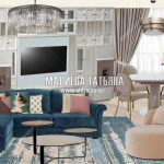 Коллаж гостиной квартиры в Лобне вариант 2