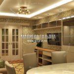 Гостиная с раздвижными дверьми в дизайн проекте Малиевой Татьяны Люберцы 2019
