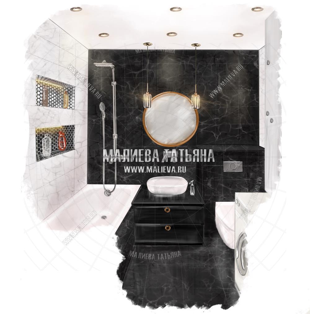 Эскиз ванной: ЖК Яуза Парк, Дизайн проект Малиевой Татьяны, Москва 2019