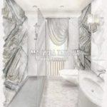 Дизайн ванной из камня для взрослых дизайн проект Малиевой Татьяны 2019 ЖК Купавна
