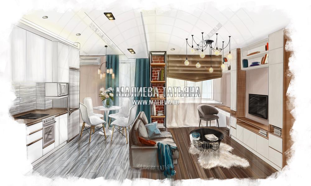 Эскиз гостиной и кухни: ЖК Яуза Парк, дизайн проект Малиевой Татьяны, Москва 2019