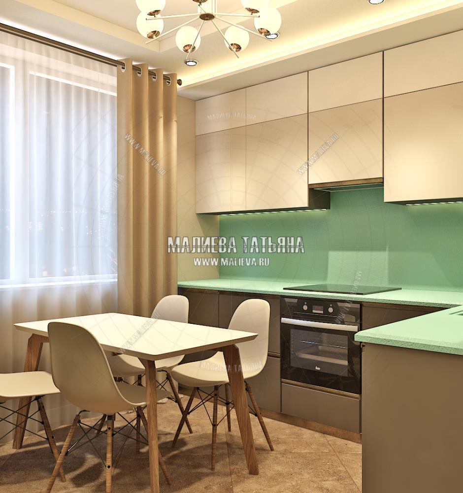 Дизайн светлой кухни в дизайн проекте Малиевой Татьяны 130 кв. м. Люберцы 2019