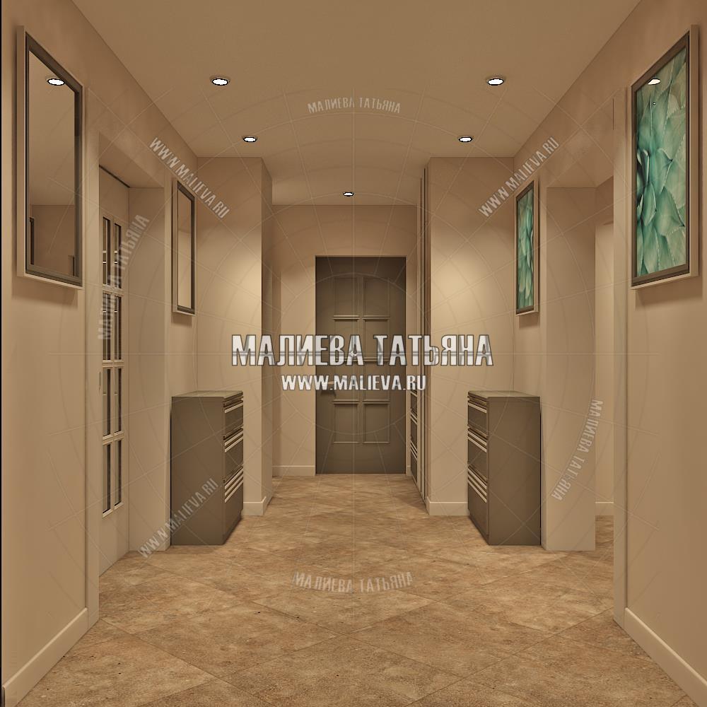 Дизайн холла парадной в дизайн проекте Малиевой Татьяны 130 кв. м. Люберцы 2019