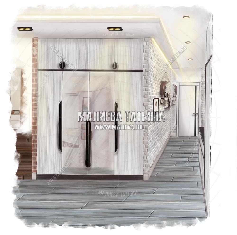 Эскиз холла коридора: ЖК Яуза Парк, Дизайн проект Малиевой Татьяны, Москва 2019