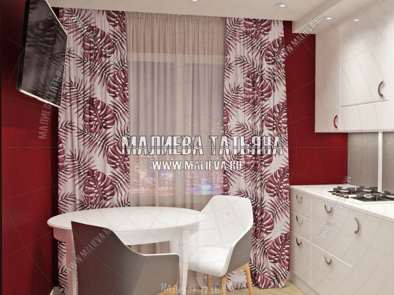 красная кухня от дизайнера Малиевой Татьяны