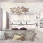 Кухня в стиле минимализма ЖК Родионово (Химки), дизайнер Малиева Татьяна