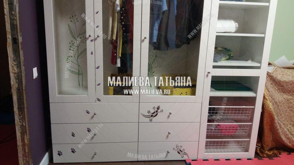 Обклейка шкафа из Икеи в детской, дизайнер Малиева Татьяна 2019 Москва