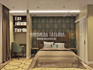 пример красивой спальной комнаты в стиле контемпорари