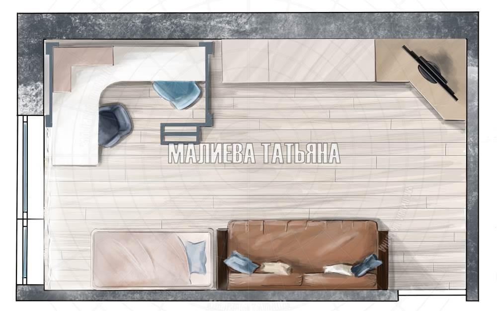 Скетч план гостиной в современном стиле