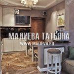 Кухня с темным фартуком в ЖК Новое Медведково