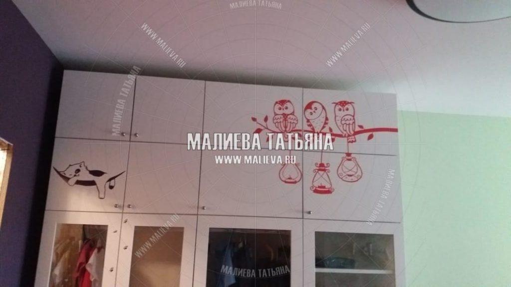 Шкаф в детскую комнату и обклейка животными дизайн Малиевой Татьяны Москва 2019