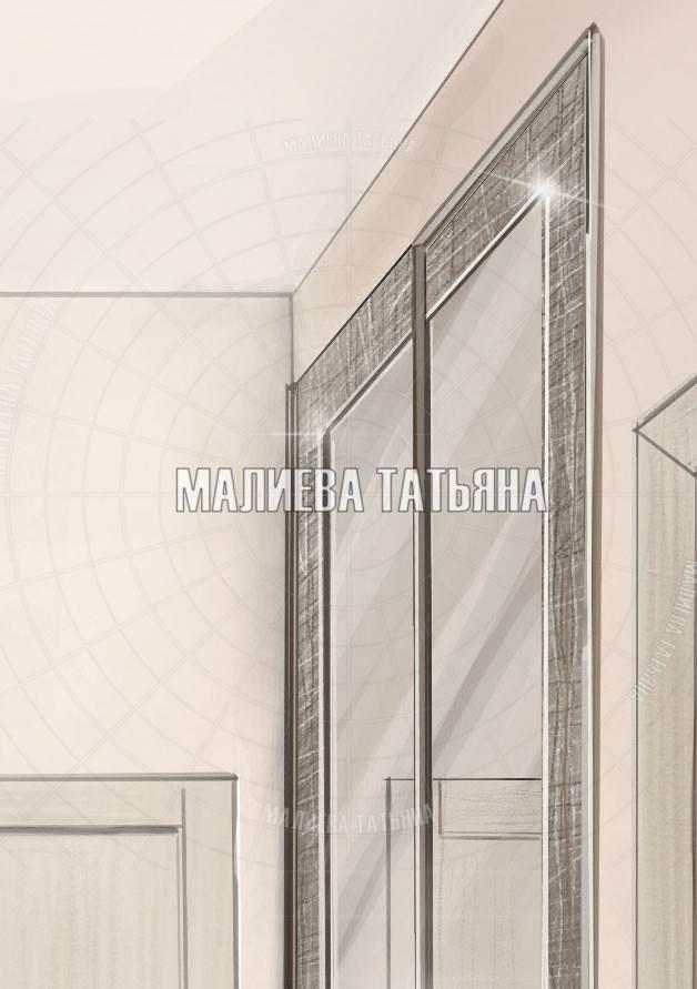 Шкаф с раздвижными дверьми и отделкой кожей