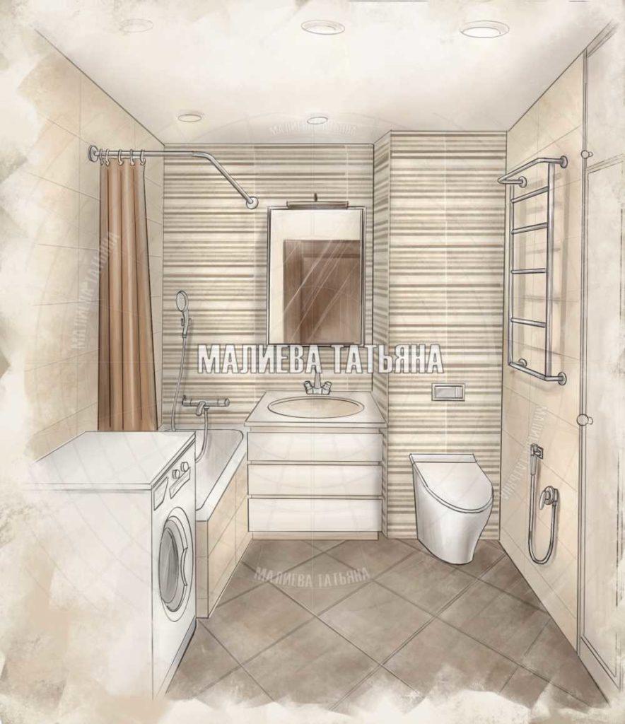 Эскиз ванной из дизайн проекта в ЖК Центральный Долгопрудный 2019