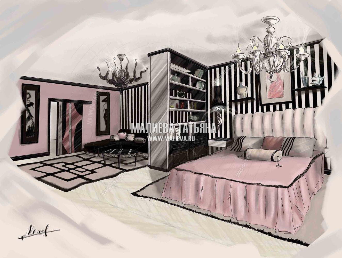 Эскиз квартиры в стиле Ар-Деко (Коко Шанель)