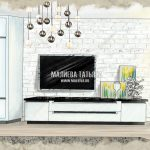 Эскиз гостиной ТВ-панель в ЖК Эталон Сити