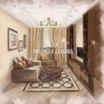 Эскиз гостиной дизайн проект Малиевой Татьяны ЖК Центральный Долгопрудный 2019