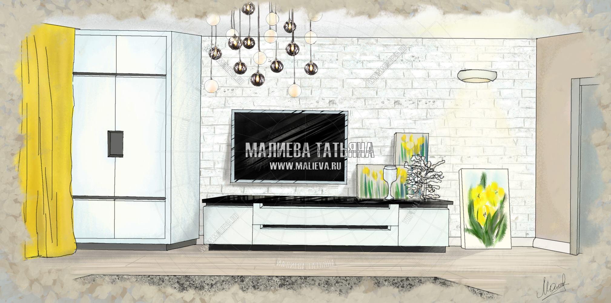эскиз гостиной дизайн проект Малиевой Татьяны
