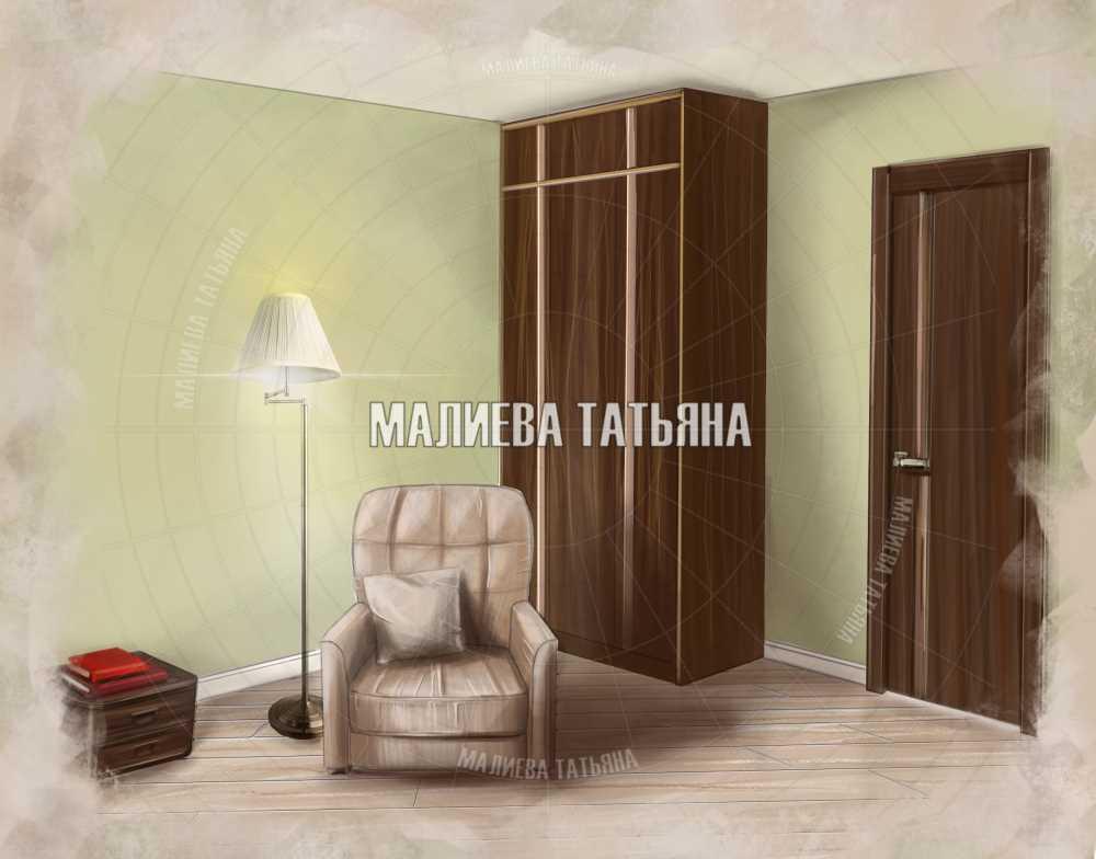 Кресло в спальне дизайн проект в ЖК Центральный Долгопрудный 2019 Малиева Татьяна