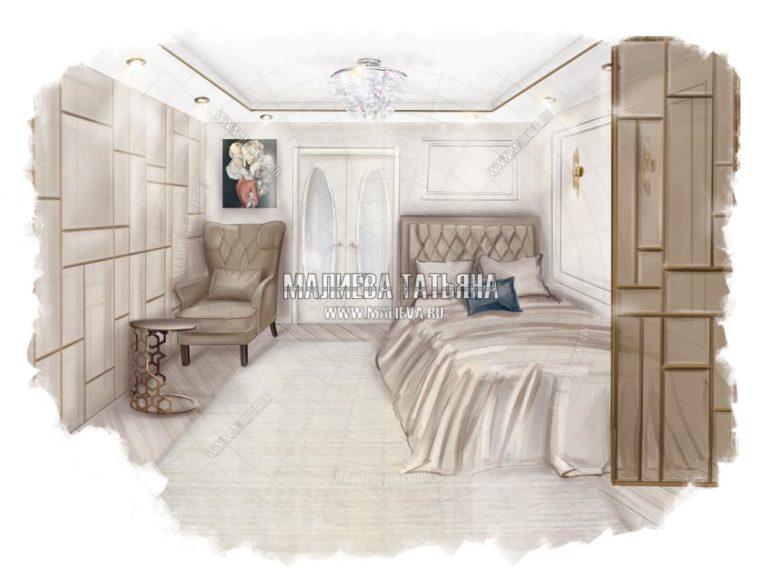 Дизайн спальни в Лобне, дизайнер интерьеров Малиева Татьяны 2019