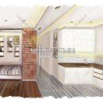 Эскиз спальни и кухни: ЖК Яуза Парк, дизайн проект Малиевой Татьяны, Москва 2019