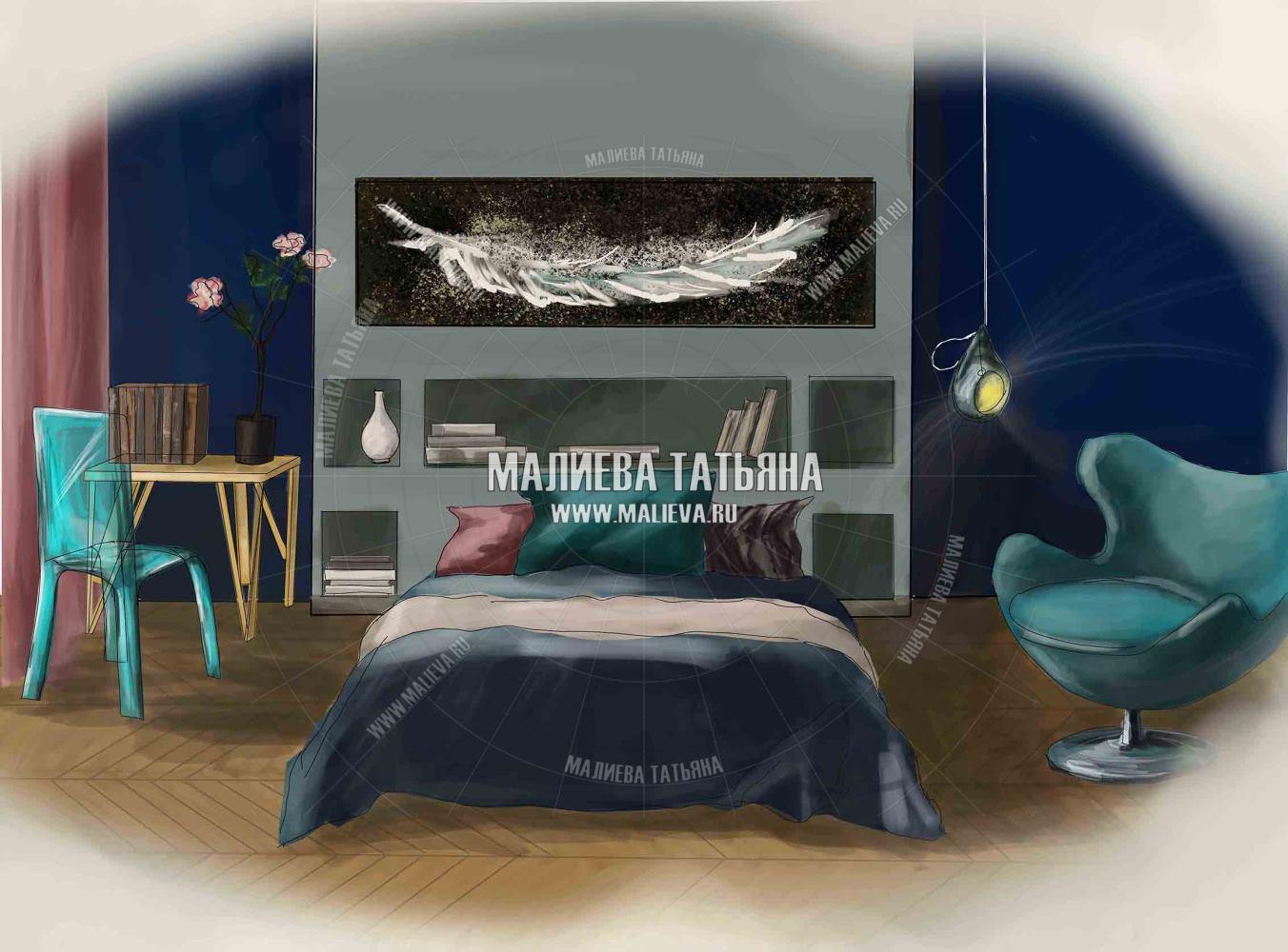 Эскиз спальни в современном стиле (Лофт)
