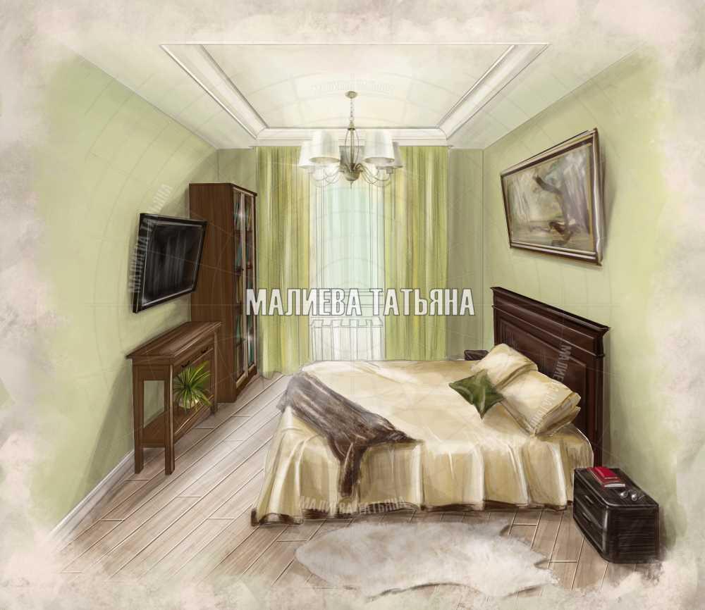 Эскиз спальной комнаты из дизайн проекта в ЖК Центральный Долгопрудный 2019