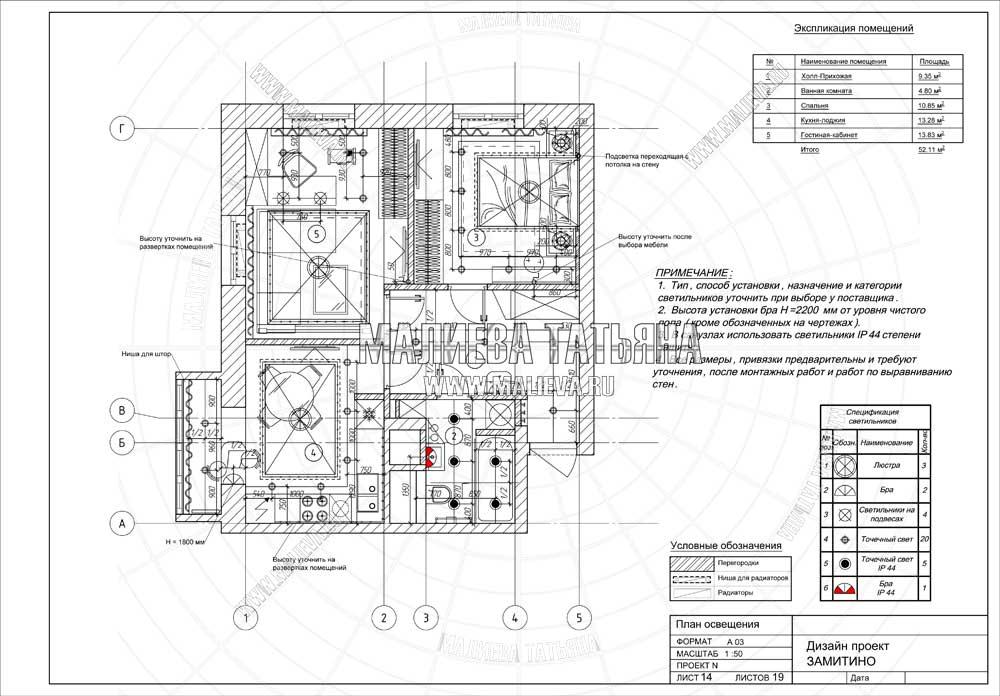 Дизайн проект: план освещения