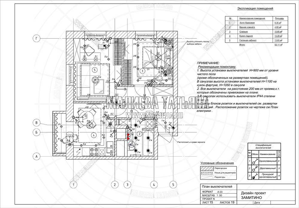 Дизайн проект: план выключателей