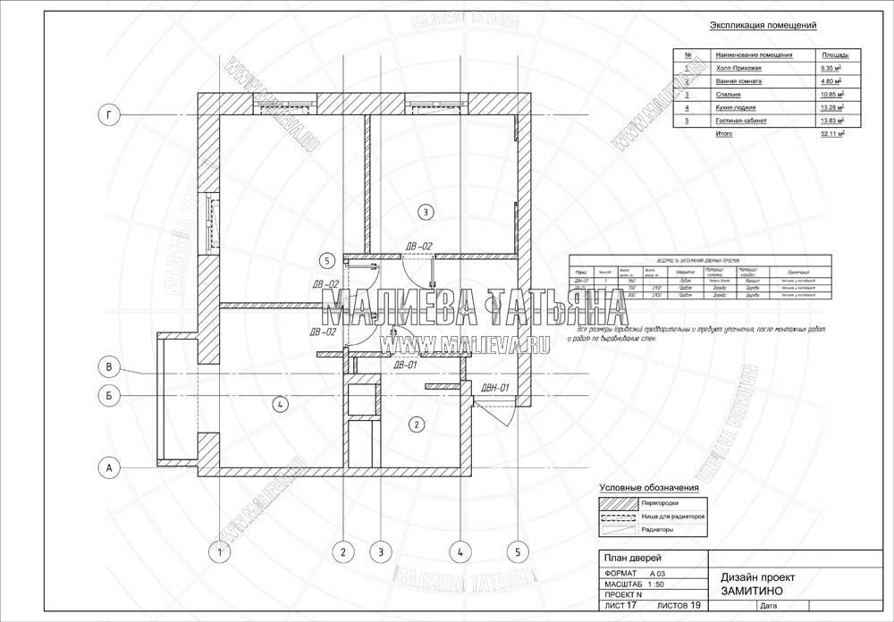 Дизайн проект: план дверей
