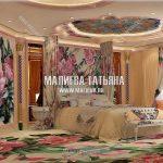 Дизайн спальни с панно на шелке в бежевых тонах