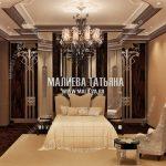 Дизайн спальни в стиле модерн с темным деревом