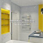 3d визуализация ванной комнаты желтая с серым Малиева Татьяна