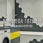 3d визуализация ванной с гексагональной плиткой Малиева Татьяна