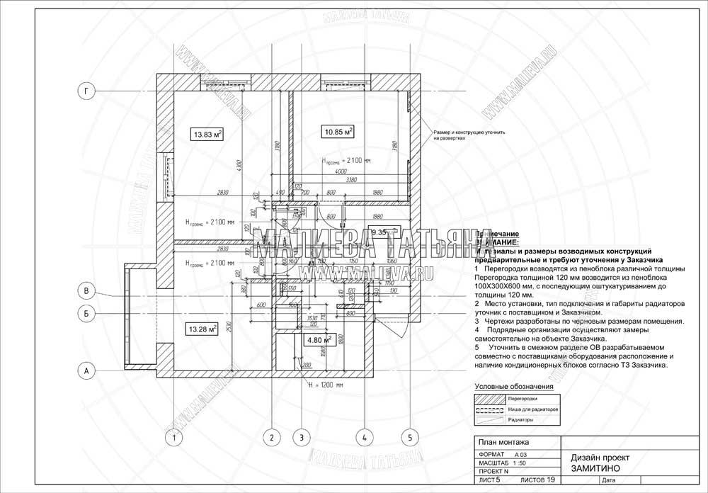 Дизайн проект: план монтажа
