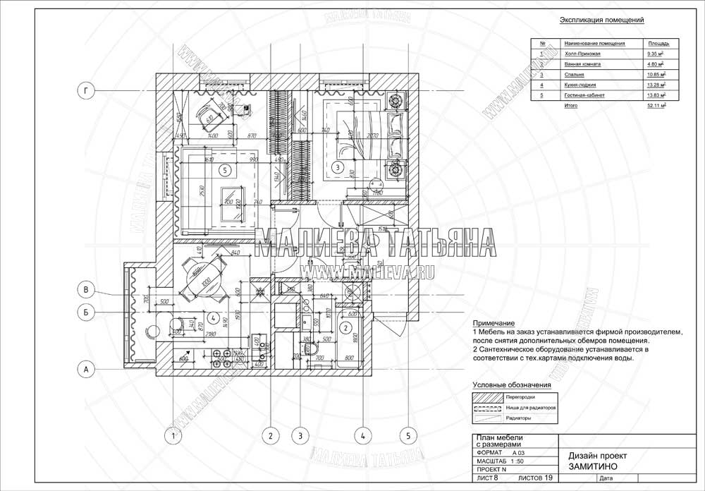 Дизайн проект: план мебели с размерами