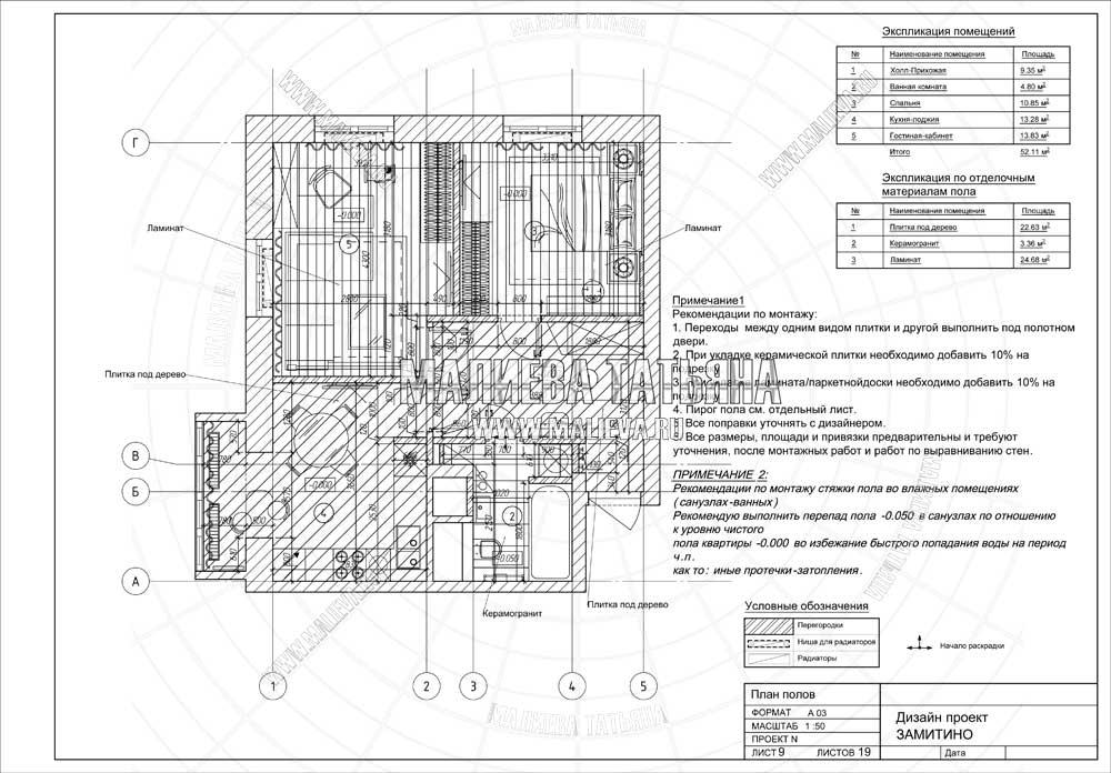 Дизайн проект: план пола