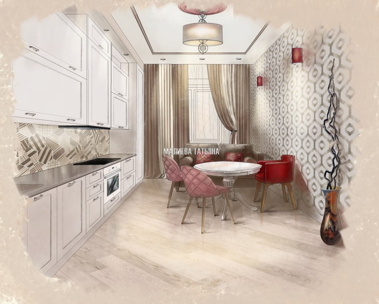 Эскиз кухни в Мытищах в ЖК Спутник