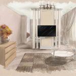 Эскиз совмещенной спальни с гостиной Малиева Татьяна