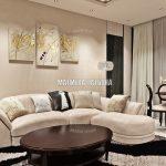 Гостиная с кожаным диваном в ЖК Савеловский Сити от Малиевой Татьяны