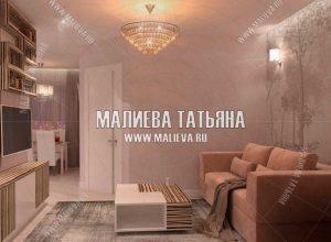 Гостиная - Дизайн проект в Пироговской Ривьере